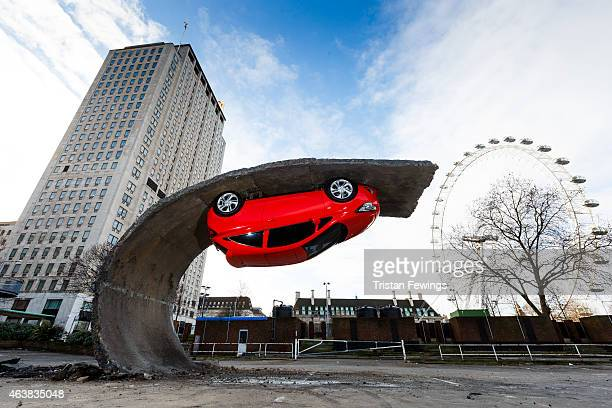 'Alex Chinneck for Vauxhall Motors Pick yourself up and pull yourself together' for the launch of the Vauxhall Corsa at Southbank Centre on February...