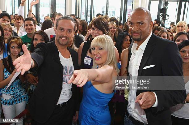 Alex Christensen Michelle Leonard and Detlef D Soost jury members of the TV Show Popstars You I pose during the official casting at the Alte...