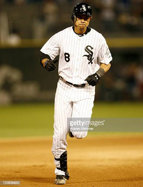 Alex Cintron of the Chicago White Sox rounds second base after hitting what turned out to be the game winning hit tonight at US Cellular Field...