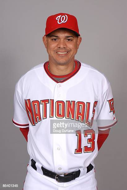 Alex Cintron of the Washington Nationals poses during Photo Day on Saturday February 21 2009 at Space Coast Stadium in Viera Florida