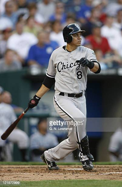 Alex Cintron of the White Sox watches a home run sail over the fence during action between the Chicago White Sox and Kansas City Royals at Kauffman...