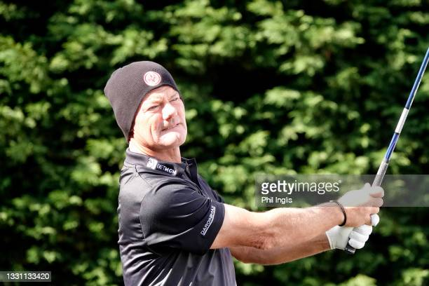 Alex Cjeka of Germany in action during the ProAm ahead of the Staysure PGA Seniors Championship at Formby Golf Club on July 28, 2021 in Formby,...