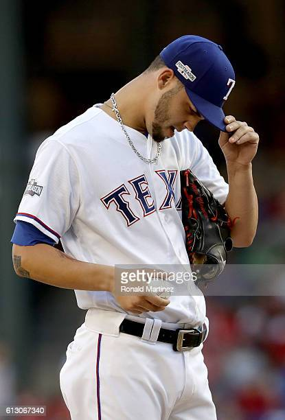 Alex Claudio of the Texas Rangers in action against the Toronto Blue Jays in game one of the American League Divison Series at Globe Life Park in...
