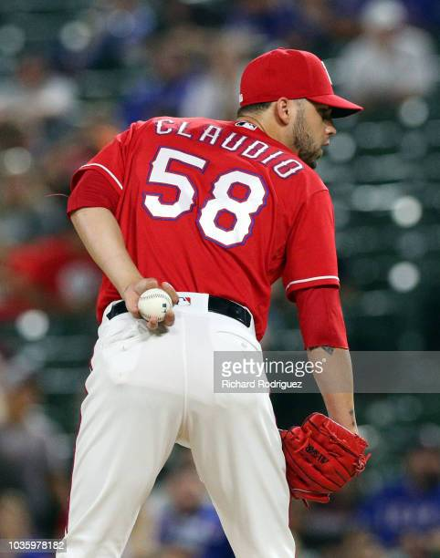 Alex Claudio of the Texas Rangers pitches against the Los Angeles Angels at Globe Life Park in Arlington on September 3 2018 in Arlington Texas