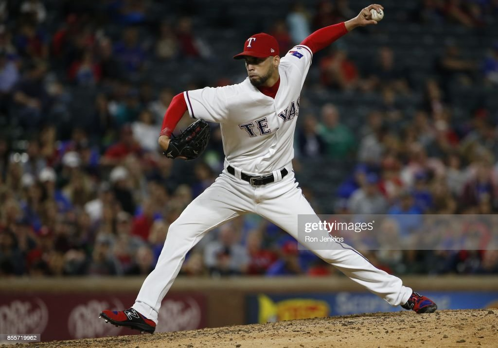 Alex Claudio #58 of the Texas Rangers pitches against the Oakland Athletics during the ninth inning at Globe Life Park in Arlington on September 29, 2017 in Arlington, Texas. The Rangers won 5-3.