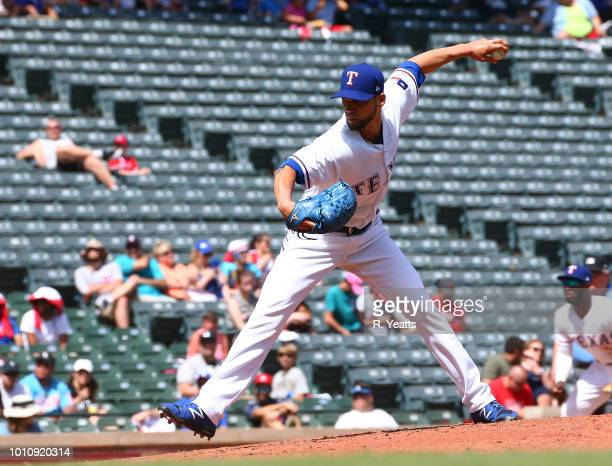 Alex Claudio of the Texas Rangers throws in the sixth inning against the Chicago White Sox at Globe Life Park in Arlington on July 1 2018 in...