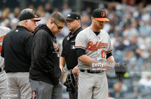 Manager Buck Showalter of the Baltimore Orioles celebrates with his players after defeating the New York Yankees at Yankee Stadium on September 23...