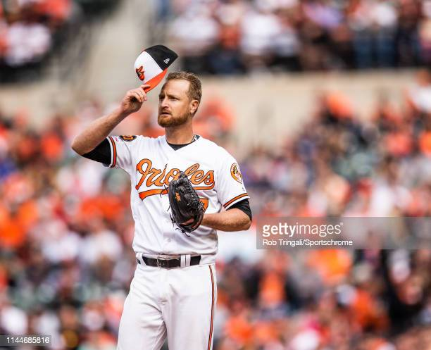 Alex Cobb of the Baltimore Orioles looks on during the game against the New York Yankees at Oriole Park at Camden Yards on April 4, 2019 in...