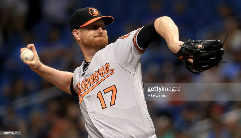 Alex Cobb #17 of the Baltimore Orioles pitches during a game against the Tampa Bay Rays at Tropicana Field on August 7, 2018 in St Petersburg, Florida.