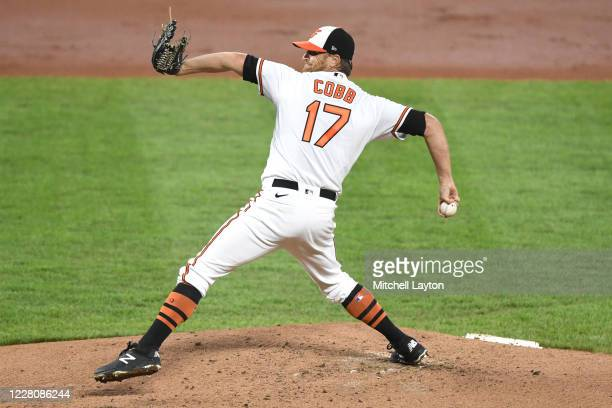 Alex Cobb of the Baltimore Orioles pitches in the first inning during a baseball game against the Toronto Blue Jays on August 17, 2020 at Oriole Park...