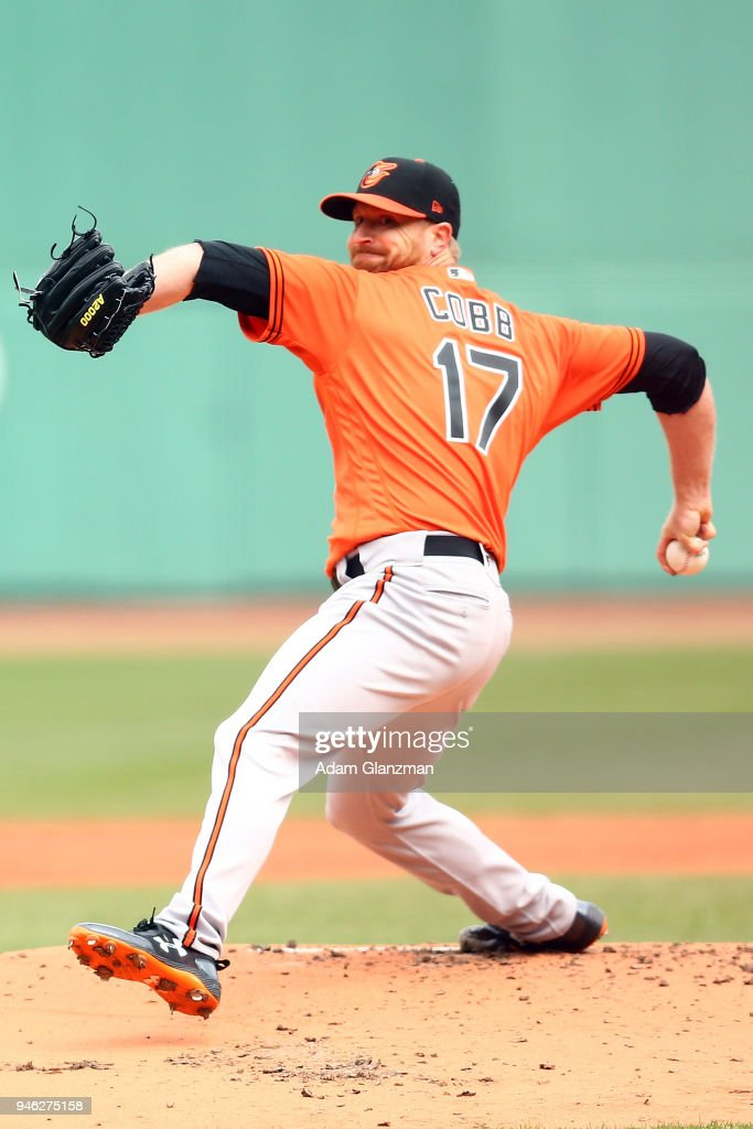 Alex Cobb #17 of the Baltimore Orioles pitches in the first inning of a game against the Boston Red Sox at Fenway Park on April 14, 2018 in Boston, Massachusetts.