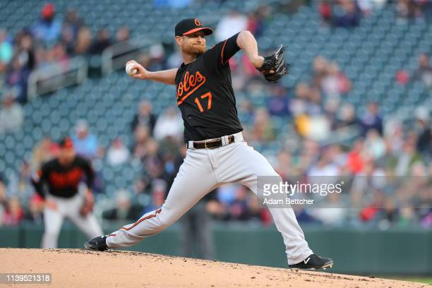 Alex Cobb of the Baltimore Orioles pitches in the first inning against the Minnesota Twins at Target Field on April 26, 2019 in Minneapolis,...