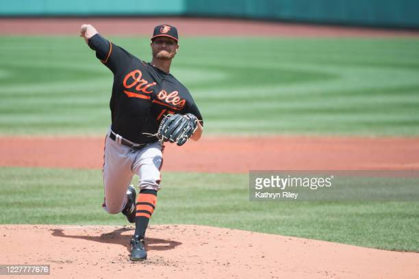 Alex Cobb of the Baltimore Orioles pitches in the first inning against the Boston Red Sox at Fenway Park on July 25, 2020 in Boston, Massachusetts....