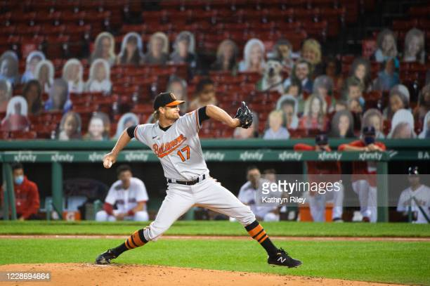Alex Cobb of the Baltimore Orioles pitches in the first inning against the Boston Red Sox at Fenway Park on September 24, 2020 in Boston,...