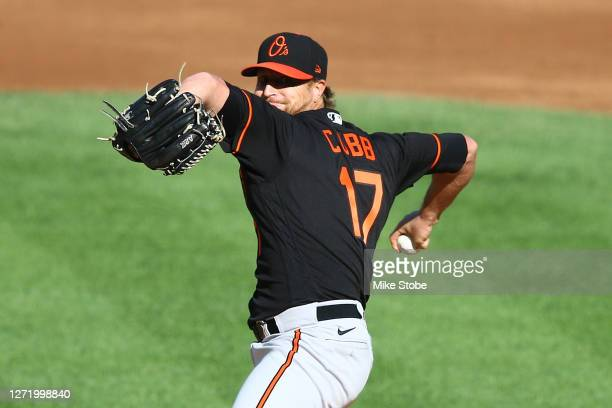 Alex Cobb of the Baltimore Orioles pitches in the first inning against the New York Yankees at Yankee Stadium on September 11, 2020 in New York City.