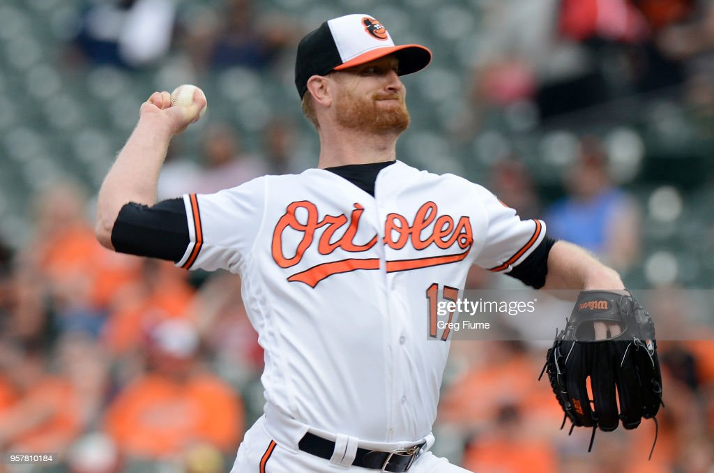 Alex Cobb #17 of the Baltimore Orioles pitches in the first inning against the Tampa Bay Rays during the second game of a doubleheader at Oriole Park at Camden Yards on May 12, 2018 in Baltimore, Maryland.