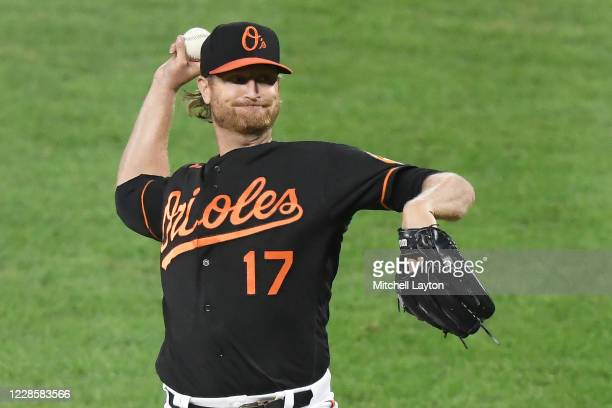 Alex Cobb of the Baltimore Orioles pitches in the second inning during a baseball game against the Tampa Bay Rays at Oriole Park at Camden Yards on...