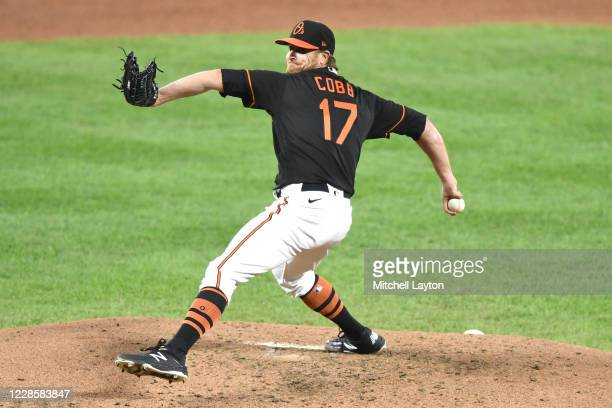 Alex Cobb of the Baltimore Orioles pitches in the third inning during a baseball game against the Tampa Bay Rays at Oriole Park at Camden Yards on...