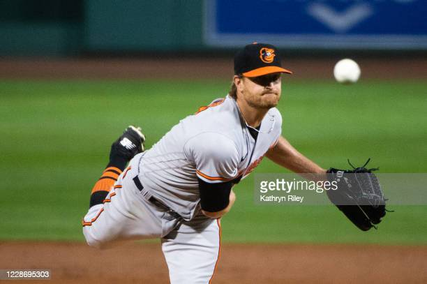 Alex Cobb of the Baltimore Orioles pitches in the third inning against the Boston Red Sox at Fenway Park on September 24, 2020 in Boston,...