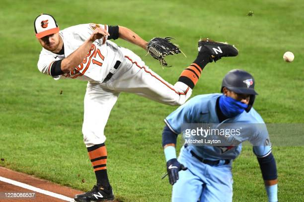 Alex Cobb of the Baltimore Orioles tries to throw to home to try to get Lourdes Gurriel Jr #13 of the Toronto Blue Jays in the second inning during a...