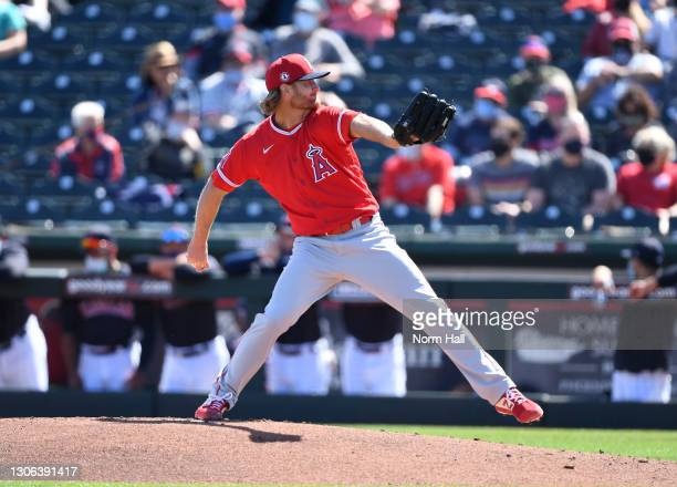 Alex Cobb of the Los Angeles Angels delivers a first inning pitch against the Cleveland Indians during a spring training game at Goodyear Ballpark on...