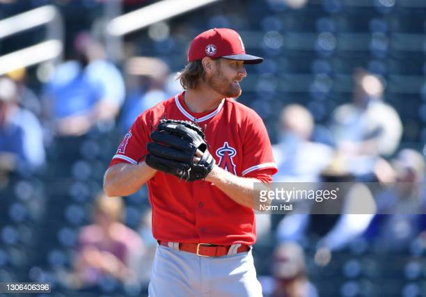 Alex Cobb of the Los Angeles Angels delivers a pitch against the Cleveland Indians during a spring training game at Goodyear Ballpark on March 10,...