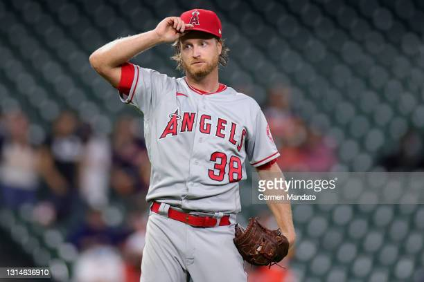 Alex Cobb of the Los Angeles Angels in action against the Houston Astros at Minute Maid Park on April 22, 2021 in Houston, Texas.
