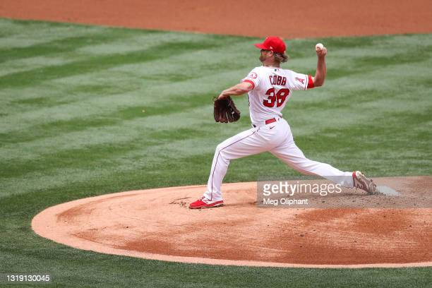 Alex Cobb of the Los Angeles Angels pitches against the Minnesota Twins during game one of a doubleheader at Angel Stadium of Anaheim on May 20, 2021...