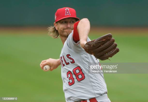 Alex Cobb of the Los Angeles Angels pitches against the Oakland Athletics in the bottom of the first inning at RingCentral Coliseum on May 29, 2021...