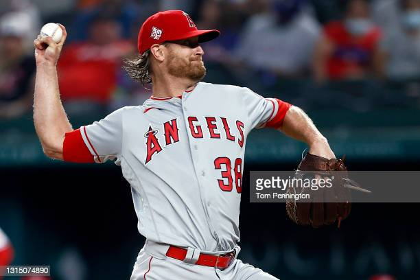 Alex Cobb of the Los Angeles Angels pitches against the Texas Rangers in the bottom of the first inning at Globe Life Field on April 28, 2021 in...