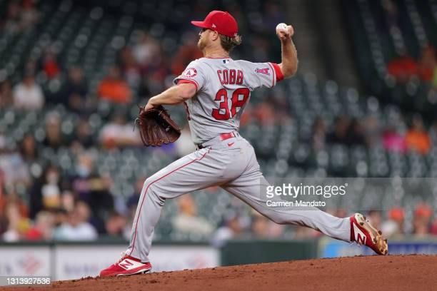 Alex Cobb of the Los Angeles Angels pitches during the first inning against the Houston Astros at Minute Maid Park on April 22, 2021 in Houston,...