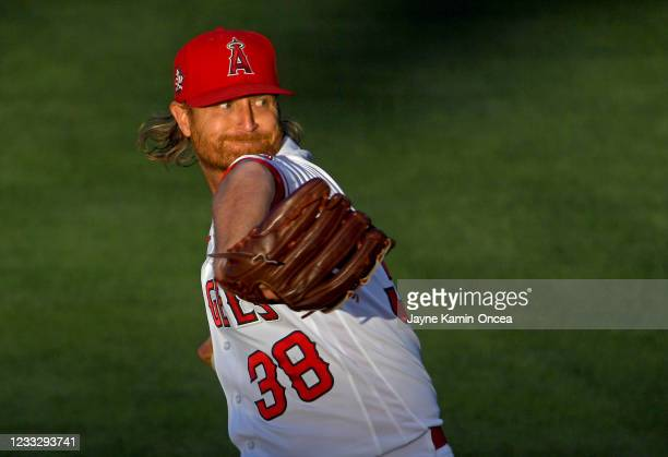 Alex Cobb of the Los Angeles Angels pitches in the first inning of the game against the Seattle Mariners at Angel Stadium of Anaheim on June 5, 2021...