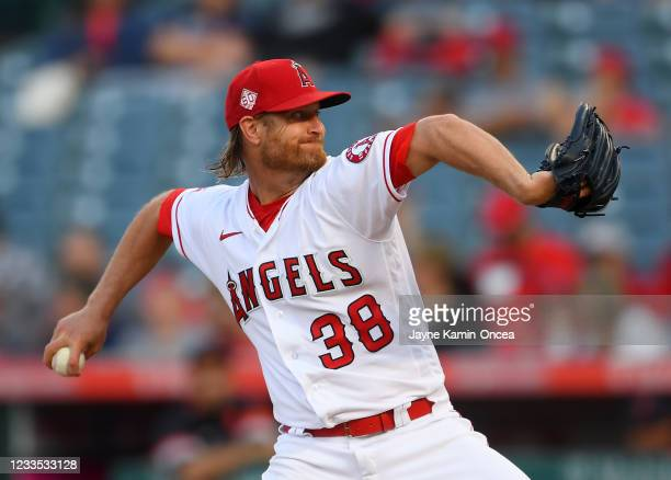 Alex Cobb of the Los Angeles Angels pitches in the first inning of the game against the Detroit Tigers at Angel Stadium of Anaheim on June 18, 2021...