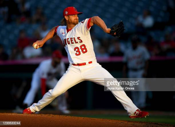 Alex Cobb of the Los Angeles Angels pitches in the second inning of the game against the Detroit Tigers at Angel Stadium of Anaheim on June 18, 2021...