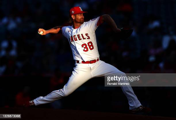 Alex Cobb of the Los Angeles Angels throws against the Baltimore Orioles in the first inning at Angel Stadium of Anaheim on July 03, 2021 in Anaheim,...