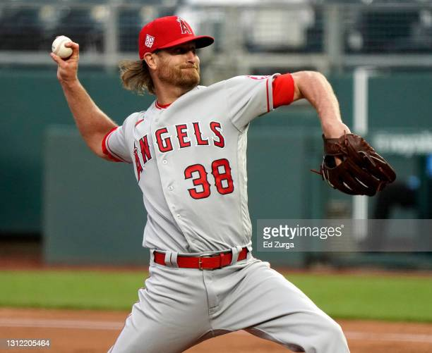 Alex Cobb of the Los Angeles Angels throws in the first inning against the Kansas City Royals at Kauffman Stadium on April 12, 2021 in Kansas City,...
