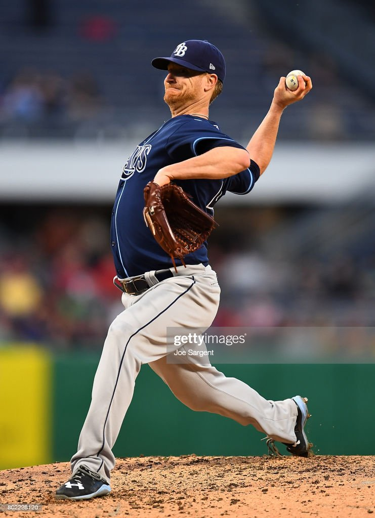 Alex Cobb #53 of the Tampa Bay Rays delivers a pitch during the sixth inning against the Pittsburgh Pirates at PNC Park on June 27, 2017 in Pittsburgh, Pennsylvania.