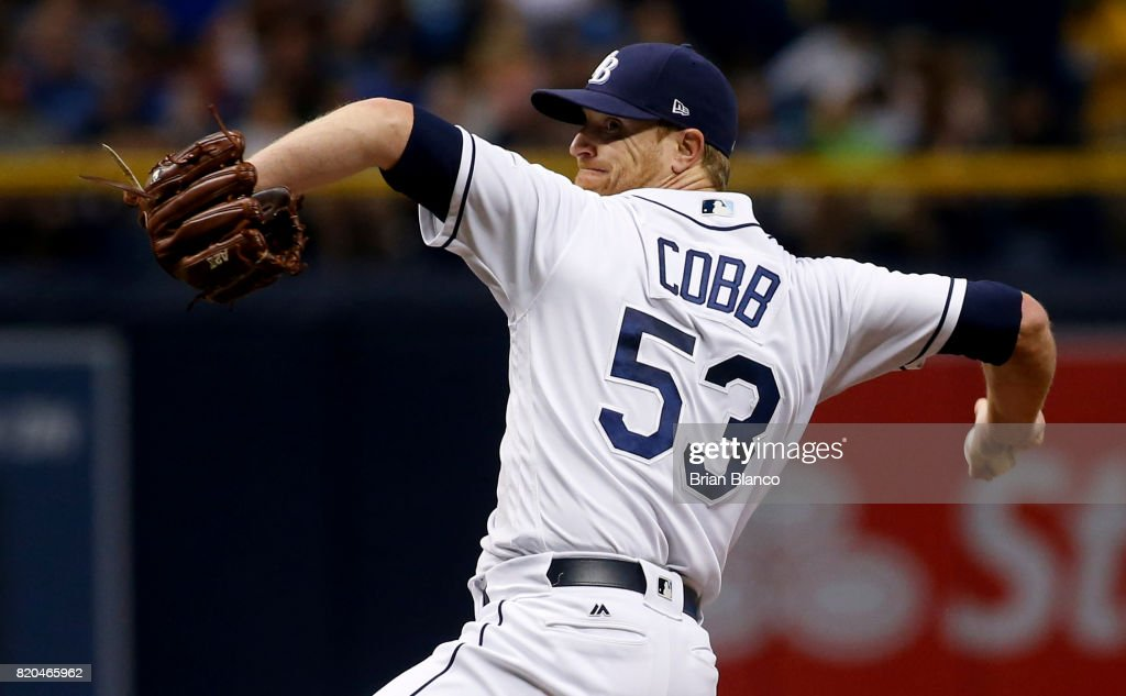 Alex Cobb #53 of the Tampa Bay Rays pitches during the first inning of a game against the Texas Rangers on July 21, 2017 at Tropicana Field in St. Petersburg, Florida.