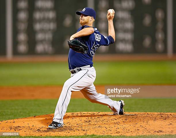 Alex Cobb of the Tampa Bay Rays pitches in the second inning against the Boston Red Sox during the game at Fenway Park on September 23, 2014 in...