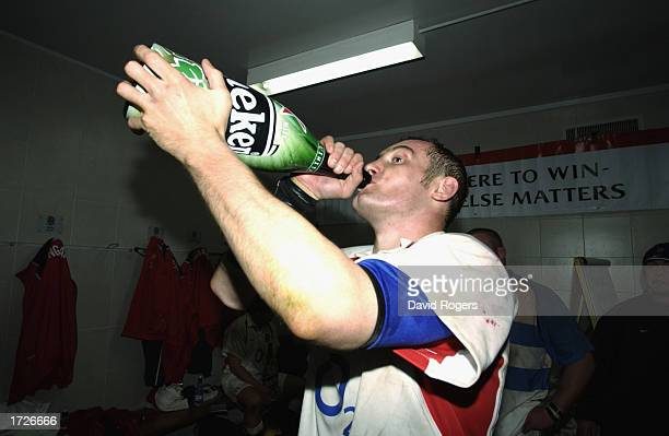 Alex Codling of England celebrates victory after the Rugby Union International match between Argentina and England held on June 22 2002 at the Velez...