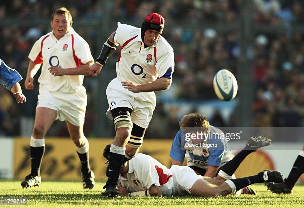 Alex Codling of England chases his kick ahead during the Rugby Union International match between Argentina and England held on June 22 2002 at the...
