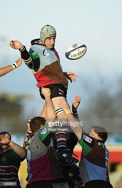 Alex Codling of Harlequins rises highest at the lineout during the Zurich Premiership match between the NEC Harlequins and Leicester Tigers held on...