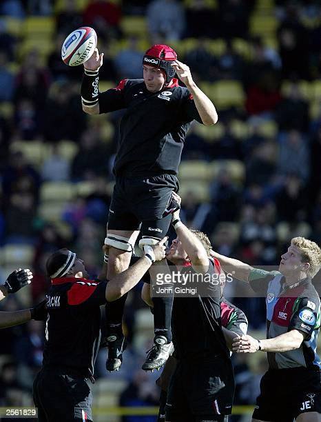 Alex Codling of Saracens wins a lineout during the Zurich Premiership match between Saracens and NEC Harlequins at Vicarage Road on October 5 2003 in...