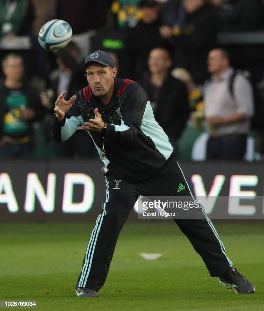Alex Codling the Harlequins forwards coach catches the ball during the Gallagher Premiership Rugby match between Northampton Saints and Harlequins at...