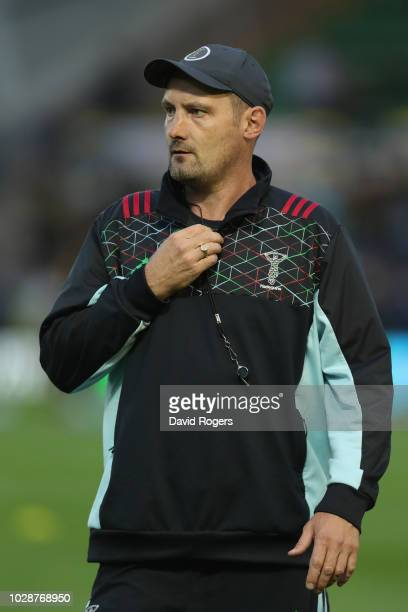 Alex Codling the Harlequins forwards coach looks on during the Gallagher Premiership Rugby match between Northampton Saints and Harlequins at...