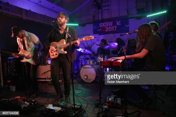 Alex Coleman Cameron Neal Alberto Roubert Zach Zeller and Cody Fowler perform on stage at the Bella Union 20th Anniversary Party at TuneIn Studios @...