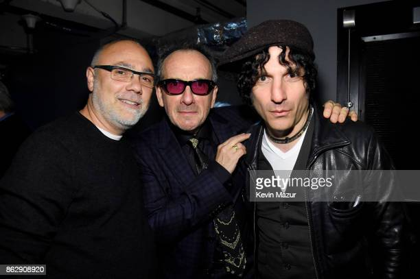 Alex Coletti Honoree Elvis Costello and Musician Jesse Malin pose backstage during the Little Kids Rock Benefit 2017 at PlayStation Theater on...