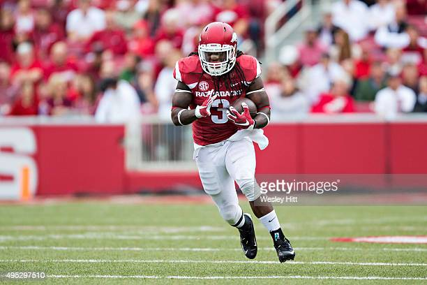 Alex Collins of the Arkansas Razorbacks runs the ball during a game against the Auburn Tigers at Razorback Stadium on October 24 2015 in Fayetteville...