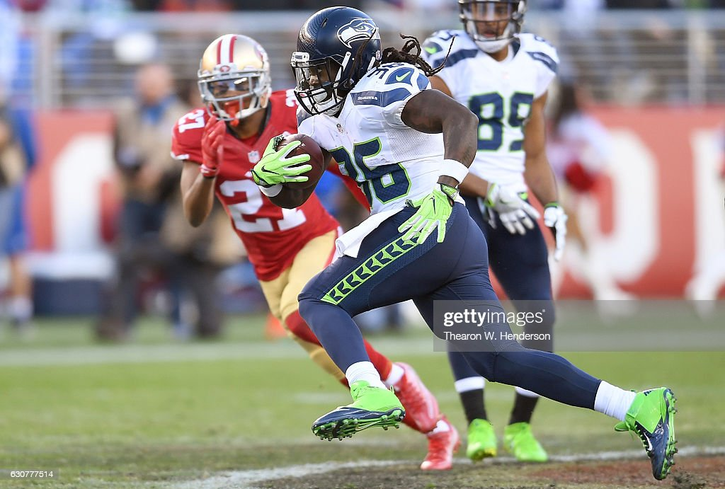 Alex Collins #36 of the Seattle Seahawks carries the ball for a 26 yard gain against the San Francisco 49ers during the third quarter of their NFL football game at Levi's Stadium on January 1, 2017 in Santa Clara, California.