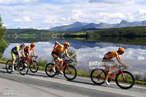 Alex Colman of Belgium and Team Sport Vlaanderen - Baloise, Erik Nordsaeter Resell of Norway, Torstein Traeen of Norway and UNO - X Pro Cycling Team...